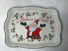 Christmas Plate Pfaltzgraff I Believe In Santa White With Santa Square 8 In 6