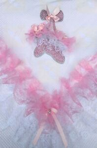ROMANY BABY GIRL PINK SHAWL - PINK LACE WITH BLING BOOTIES - GORGEOUS!!