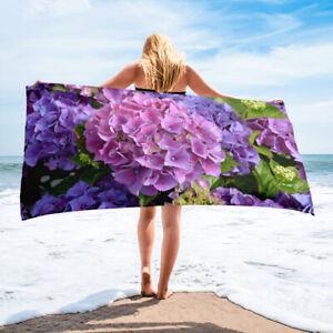 Purple Hydrangea Beach Towel Floral Bath Towels