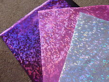 LYCRA Spandex Foiled Fabric Pink Silver 3 x 24 cm Squares Bunting Remnants