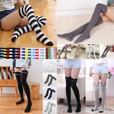 Women's Cotton Socks Striped Thigh High Socks Over the Knee Slim Leg Stockings