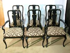6 Vintage 1976 Kindel Furniture Queen Anne Dining Chairs; Black Lacquer Finish