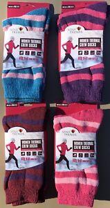 4x Womens SOLE TRENDS Warm Winter Thermal Socks Red Purple Pink Stripe-Size 9-11