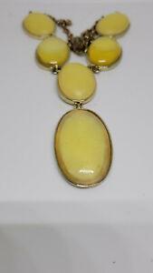 Crown Trifari necklace Vintage yellow statement