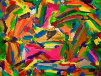 "tableau art abstrait moderne contemporain ""jungle bohème ""60X80 CM SIGNE"