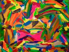 """tableau art abstrait moderne contemporain""""amour et jungle bohème """"60X80 CM SIGNE"""