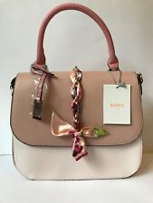 Bessie Couture London Baby Pink Floral Ribbon Chain Flat Top Tote Medium Handbag