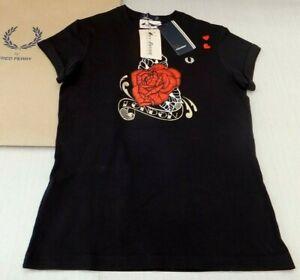 Fred Perry Amy Winehouse Genuine Ladies Rose Print T-shirt Black UK 8 BNWT