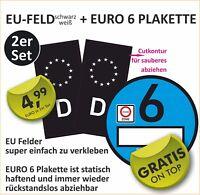 Set Nummernschild Kennzeichen EU Feld Auto Aufkleber schwarz UV+Kratzlaminat #6