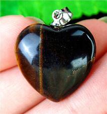 20x20x7mm Natural Brown Tiger Eye Gem Love Heart Pendant Bead BV58731