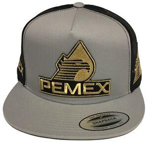 PEMEX MEXICO 3 LOGOS HAT DARK GRAY MESH SNAPBACK
