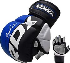RDX MMA Leather Gloves, Martial Arts Training/Sparring, Blue, Multiple Sizes
