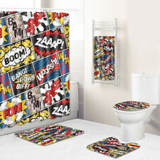 Cartoon Bathroom Rug Set Shower Curtain Bath Towel Bath Mat Toilet Lid Cover