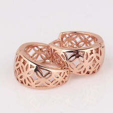 Hollow design engagement women's hoop pierced Earrings in 18k Rose Gold Filled