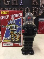 TIN TOY SPACE TROOPER LOST IN SPACE BLACK ROBOT NOT VINTAGE SPACE ROBOT BOX
