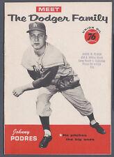 1960 Meet The Dodger Family Johnny Podres Union Oil 76 California