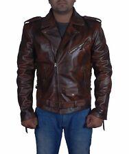 Effet vieilli cire homme biker style vintage cafe racer moto veste en cuir