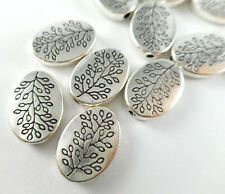 20 Silver Plated Oval Tree Branch Beads Findings 65880
