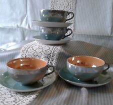 Vintage Japanese Aqua/ Peach Lusterware Set of 4 Cups & Saucers