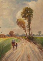 Early 20th Century Watercolour - A Countryside Lane with Figures