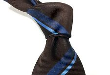 NWOT PETRONIUS Brown Blue Stripes 7 Fold Silk Tie Italy W - 3 5/8 L - 57 1/4
