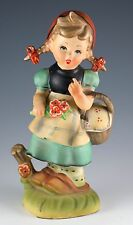 Vintage Ceramic Dutch Girl With Flowers and Basket Figurine 7.5 Inch High