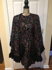Michael Novarese Long Sleeve Dress And Cape Black Paisley Vintage