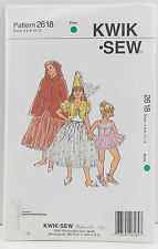 KwikSew Pattern #2618 Girls Dressup Bolero Cape Hat Tutu Leotard Sz(4-6-8-10-12)
