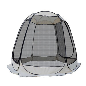 Tent Bug Screen Popup Dome Camping Enclosure Zipper Entrance Stake Sandbag