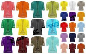 New Womens Crochet Knitted Short Sleeve Shrug Ladies Cardigan Bolero Top UK Plus