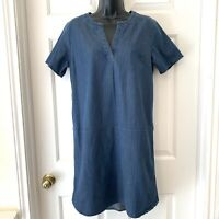 Lands End Stretch Denim Jean Chambray Shift Dress Tunic Shirttail Split SZ 6