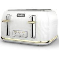 Breville VTT976 Flow 4 Slice Toaster - White & Gold VTT976