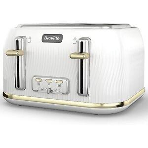 Breville VTT976 Flow 4 Slice Toaster - White & Gold