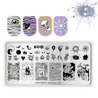 BORN PRETTY Nail Art Stamping Plates Halloween Stamp Template Ghost Spider Tips