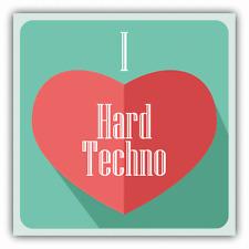 """I Love Hard Techno Heart Music Car Bumper Sticker Decal 5"""" x 5"""""""