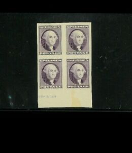 USA Specimen Essay (?), Preuve (?) En non Dentelé Blk.of 4. 200.00 Filet