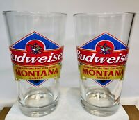 Budweiser Set of 2 Pint Glasses with Montana Barley Phrase by Libbey Glass