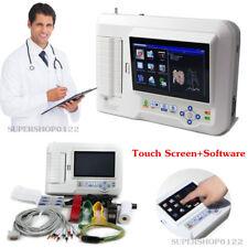 Touch 6-Channel Electrocardiograph 12-lead ECG/EKG Machine+PC Software,+ Printer