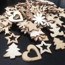 50pcs Christmas Wood Chip Tree Ornaments Hanging Pendant Decoration DIY Crafts