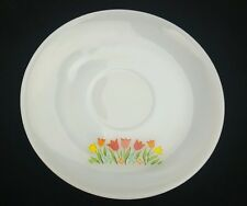 "Fire King Saucer Tulips 6"" Anchor Hocking Milk Glass Grass Flowers Floral"