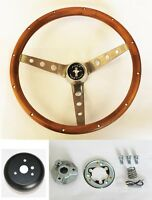 "New! 1965 - 1969 Mustang Wood Steering Wheel Grant 15"" Genuine Hardwood Walnut"