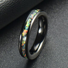 4MM Mens Womens Tungsten Carbide Ring Inlay Opal Engagement Wedding Band