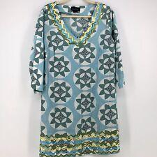 Boden Womens sz 16 Blue White Tunic Smock Dress Bric-a-brac detail Floral