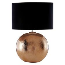 Jarvis Round Copper Lamp Texture Modern Table Light Metal Lighting Fabric Shade