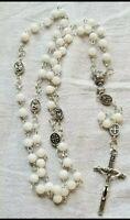 Catholic Rosary Prayer Beads Necklace Communion  - 6mm  white jade beads