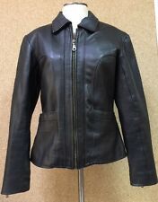 Smokin Hot Vtg Panther Noir Pebble Leather Women's Jacket Medium Zip-Out Lining