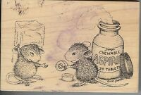 Stampa Rosa Rubber Stamp, House Mouse 12 Chew-able Aspirin B3