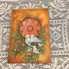 Vintage Greeting Card Christmas White Doves Pine