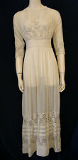 Vintage Edwardian Tea Dress Downton Abbey Wedding Ivory Cotton Lace Xs Small