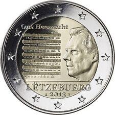 * LOT DE 5 PIECES -  2 € COMMEMO - UNC - LUXEMBOURG 2013 - HYMNE NAT